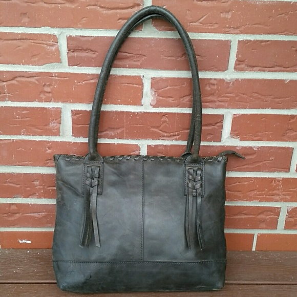 Born Handbags - Born Athena Charcoal Distressed Leather Tote 3d901c6c263aa